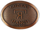 Western Ranch belt buckle with stippled antique background
